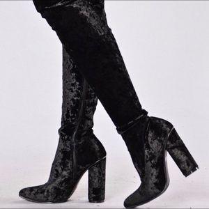 FashionNova Thigh High Crushed Velvet Boots | 8